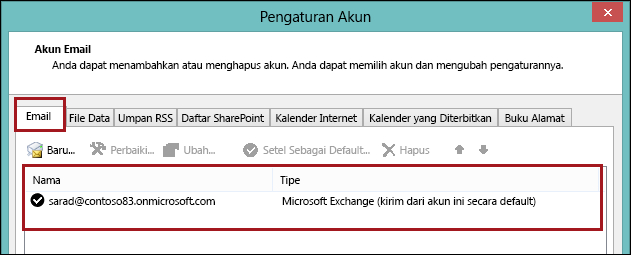 Account type in Outlook