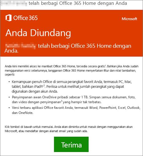 Email yang mengumumkan seseorang telah berbagi Office 365 Home dengan Anda