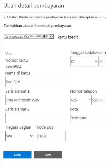 Halaman detail pembayaran untuk memperbarui informasi kartu kredit.