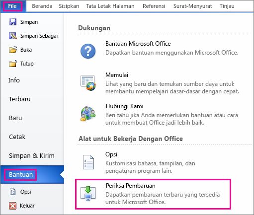 Memeriksa pembaruan Office di Word 2010 secara manual