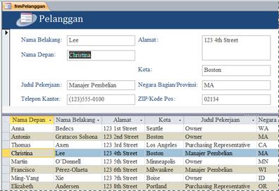 Formulir terpisah di database desktop Access