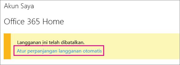 """Cuplikan layar dari link """"Menyetel perpanjangan otomatis langganan""""."""