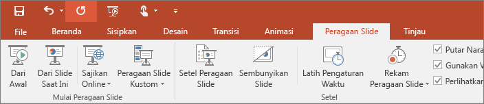 Shows the slide show tab on the ribbon in PowerPoint