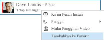 Cuplikan layar pilihan Tambahkan ke Favorit