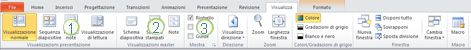 Scheda Visualizza sulla barra multifunzione di PowerPoint 2010