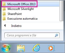 Gruppo di Office 2013 in Tutti i programmi in Windows 7