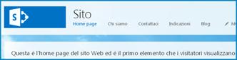 Schermata della home page predefinita di un sito Web pubblico in SharePoint Online