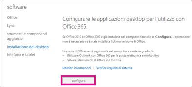 Configurare le applicazioni desktop in modo che funzionino con Office 365