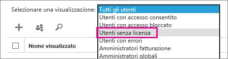Screenshot della pagina Utenti attivi con il menu Visualizza espanso e l'opzione Utenti senza licenza evidenziata.