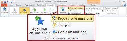 Gruppo Animazione avanzata della scheda Animazioni nella barra multifunzione di PowerPoint 2010.