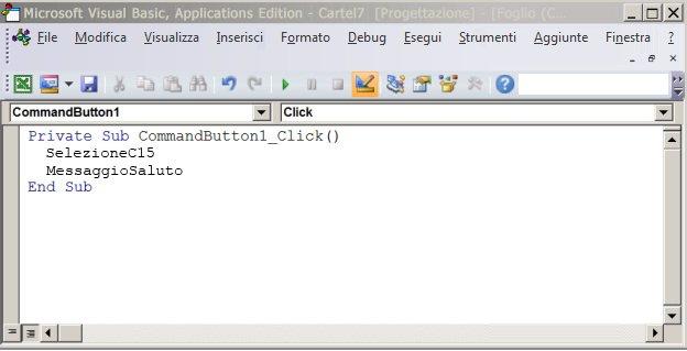 Una procedura Sub in Visual Basic Editor