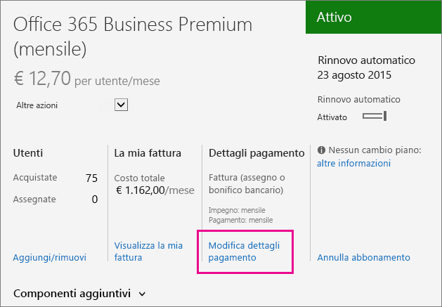 Subscription detail with Change payment details highlighted.