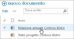 Fare clic su un documento per aprirlo