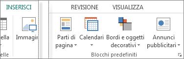 Screenshot del gruppo Blocchi predefiniti nella scheda Inserisci in Publisher.