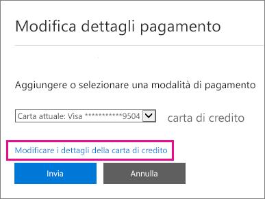Pagina Dettagli pagamento con l'opzione Modifica i dettagli della carta di credito evidenziata.