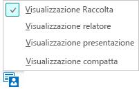 Schermata delle visualizzazioni riunione disponibili con la visualizzazione Raccolta selezionata