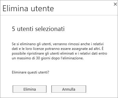 Screenshot del menu Elimina utente che viene visualizzato quando si selezionano più utenti.