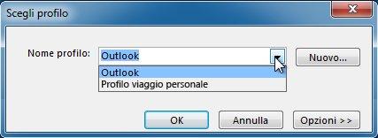 Finestra di dialogo per la selezione del profilo di Outlook