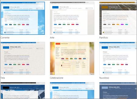 Pagina di selezione dei modelli di Office 365 con modelli facoltativi per il tema e il layout del sito pubblico