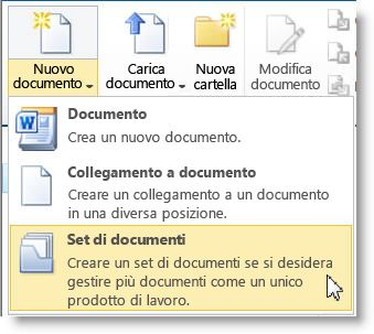 Comando Set di documenti nel menu Nuovo documento