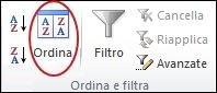 Comando Ordina nel gruppo Ordina e filtra della scheda Dati in Excel
