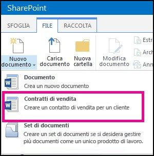 Elenco a discesa del menu Nuovo documento che mostra un tipo di contenuto Contratto di vendita.