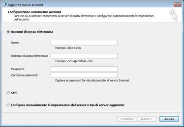 Finestra di dialogo Aggiungi nuovo account con selezionato Account di posta elettronica