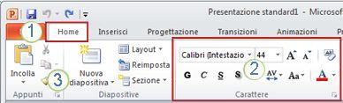 Esempio della barra multifunzione di PowerPoint. Elementi.