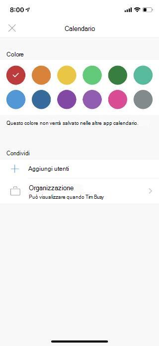 """Mostra il calendario in una schermata di un dispositivo mobile. Nella sezione Condividi è disponibile il collegamento """"Aggiungi persone""""."""