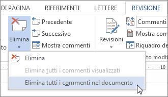 Comando Elimina tutti i commenti nel documento nel menu Elimina commento