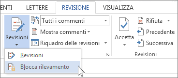 Comando Blocca revisioni nel menu Revisioni