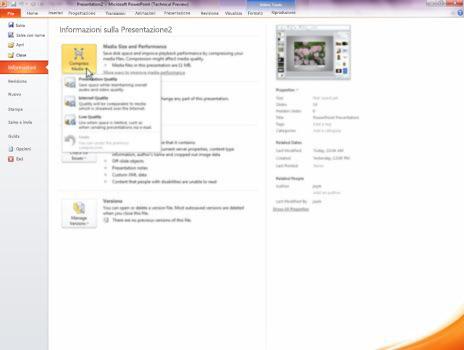 Comprimere i file multimediali