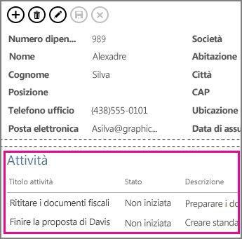 Visualizzazione in un'app Access con le attività visualizzate in un controllo elementi correlati.