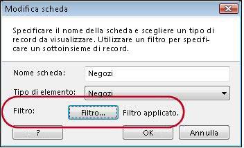 scheda con filtro applicato