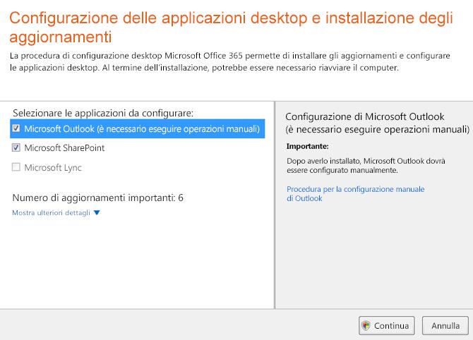 Configurare le applicazioni desktop e installare gli aggiornamenti