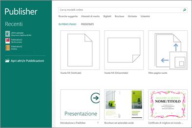Screenshot dei modelli della schermata iniziale in Publisher.