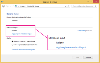 Aggiungi un metodo di input in Windows 8 con Office 2016