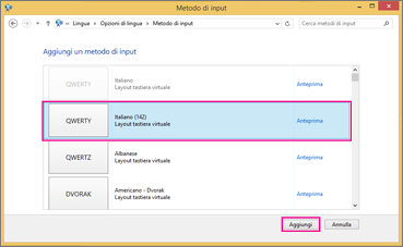 Nuovo metodo di input in Windows 8 con Office 2016