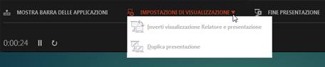 Impostazioni di visualizzazione nella visualizzazione Relatore