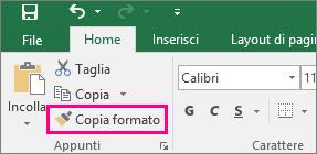 Pulsante Copia formato in Excel
