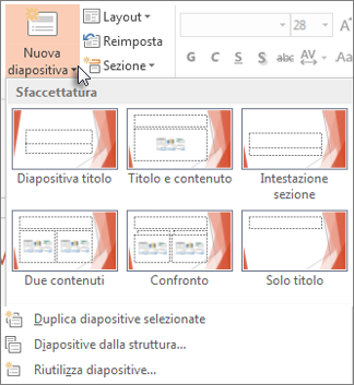 Layout di Nuova diapositiva in PowerPoint