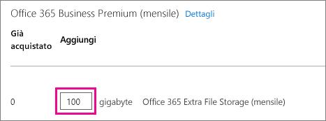Casella di testo per immettere il numero di GB di spazio di archiviazione file aggiuntivo desiderato.