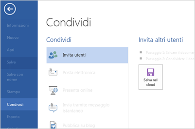 Condivisione in Word 2013