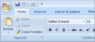 Barra multifunzione principale di Home in Word 2007