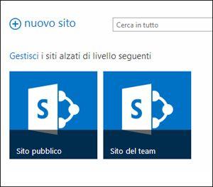 Pagina Siti di Office 365 che mostra i riquadri per Sito del team e Sito Web pubblico