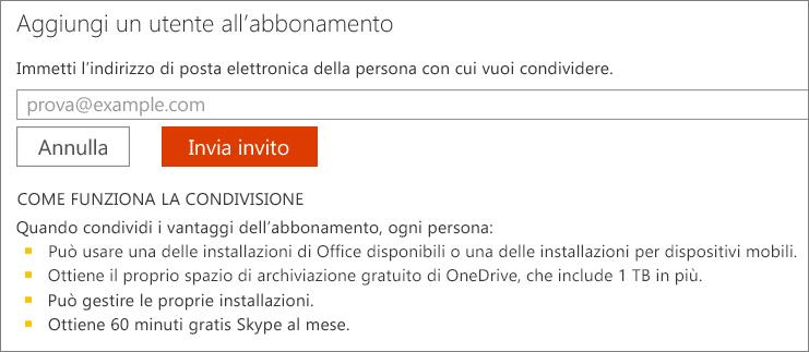 """Screenshot della finestra di dialogo """"Aggiungi un utente all'abbonamento""""."""