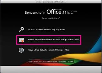 Schermata iniziale dell'installazione di Office per Mac in cui si accede a un abbonamento a Office 365 esistente.