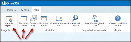 Barra multifunzione nella scheda Sito del sito Web pubblico con i pulsanti per cambiare l'aspetto, modificare titolo e cambiare il logo