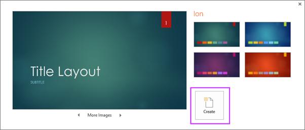 Mostra l'opzione che consente di creare una nuova presentazione da un tema in PowerPoint