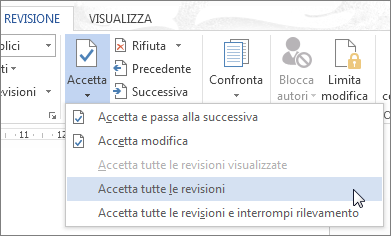 Comando Accetta tutte le revisioni nel menu Accetta